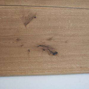 Tischplatte Eiche mit Intarsien aus Räuchereiche